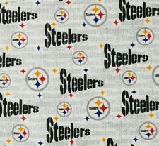 Pittsburgh Steelers White Gray NFL Cotton Fabric by the 1/4,1/2,Yard, 58