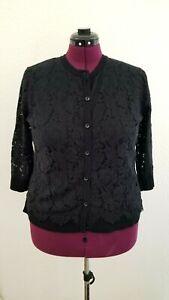 Isaac Mizrahi Cardigan Lace Black Sweater Large L 3/4 Sleeve Women's Top