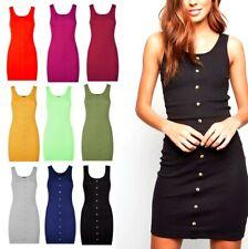 Women Ladies Ribbed Button Front Mini  Dress Bodycon Long Tunic Skater Dresses