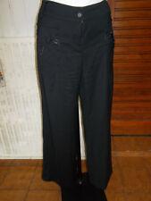 Pantalon leger stretch noir FILLE DES SABLES  T.3 40/42 Bas large  18VH8