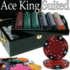 Texas Holdem Poker Chip Set Ace King Suited 500 Count 14g Mahogony CaseCards