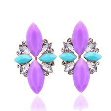 Beautiful Gold Plated Lilac Purple Aqua White Crystal Statement Earrings
