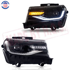 Pair Front LED Projector Lamp Headlights For 2014 2015 Chevrolet Chevy Camaro