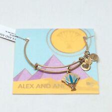 Alex and Ani Blue Lotus Bracelet Goldtone NWT and Box Ships FREE