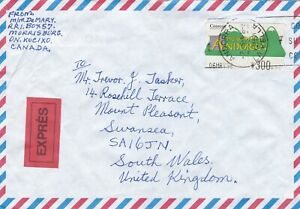 Andorra 1998 Express Cover to Swansea Wales UK 300 ptas Rate