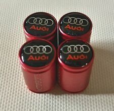 AUDI MOTORSPORTS 20mm WHEEL CAR VALVE TYRE DUST CAPS RED S LINE