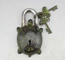 Rare Chinese old style big Brass Carved TURTLE lock with 2 keys