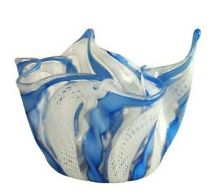 VTG Murano Latticino Zanfirico Fazzoletto Handkerchief Small Vase Hand Blown