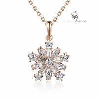 18k rose gold gp made with SWAROVSKI crystal snowflake pendant necklace
