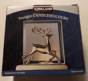 Kirkland Signature Tealight Candle Holder Silver Reindeer NIB