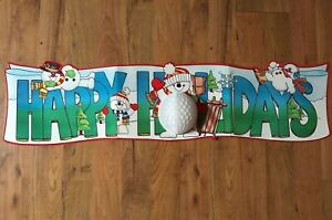 """DIECUT Honeycomb SNOWMAN Banner HAPPY HOLIDAYS 43"""" Paperboard CHRISTMAS Vintage"""