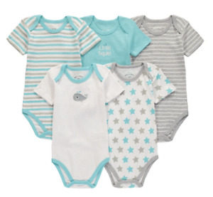 Wan-A-Beez Baby Boys Whale Stripes Stars 5 Pack Short Sleeve Bodysuits Size 0-3M