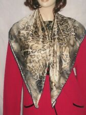 "NWOT brown beige animal print tiger leopard neck head 35"" square scarf"
