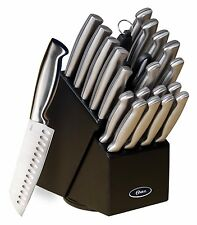 OSTER BALDWYN 22pc KITCHEN STAINLESS STEEL CUTLERY KNIFE KNIVES BLACK BLOCK SET