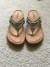 MINNETONKA Women's Gold/Silver Leather Thong Slide Sandals ~ Size 9 ~ New In Box