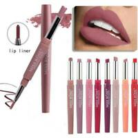 Double Head Long Lasting Waterproof Pencil Lipstick Pen Matte Lip Liner UK