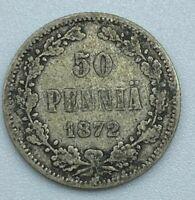 Finland 1872 50 Pennia Silver Coin  MP170