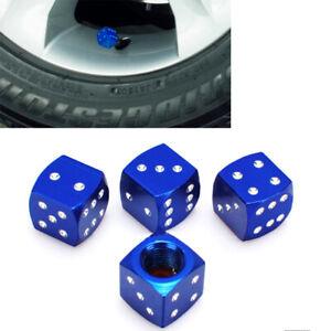 Aluminium Blue Dice Tire Wheel Air Valve Stem Cap 4pcs For Kia Hyund