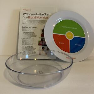 """Real Appeal Portion Control Weight Loss Plate 10"""" Plastic Books Bowl NEW NIP"""