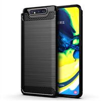 "Coque Etui Silicone Souple Fibre de Carbone Samsung Galaxy A80/ A90 6.7"" A805F"
