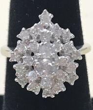 VINTAGE 14k White Gold 1.40CTW Diamond Cluster Cocktail Ring Size 7