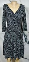 LONDON TIMES Black Mint Spotted Patterned Faux Wrap Dress 7 3/4 Sleeves Unlined