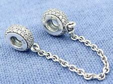 New PANDORA SILVER CHARM PAVE INSPIRATION SAFETY CHAIN #791736CZ