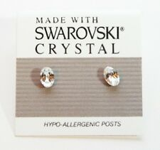 Silver Crystal Oval Stud Earrings 6mm Small Circle Made with Swarovski Elements