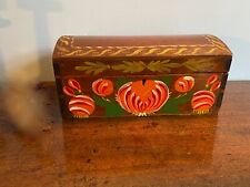 New listing A Mid-19th c., Small Dome Top Dovetailed Personal Box Paint Decorated.
