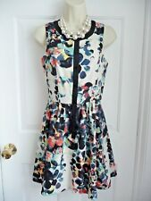 MAC JAC Dress S Scoop Neck Sleeveless Partial Button Down Splatter Floral Print