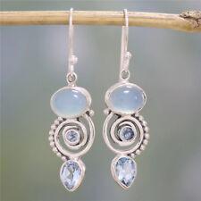 Women 925 Silver Earrings Sea Blue Vintage Topaz Dangle Drop Hook Jewelry Gift