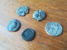 Lot 4 monnaies antiques gauloises potin tête chauve, swastika + 1 romaine argent