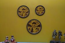 Wall hanging wooden plates set of 3 hand painted rajasthani traditional decor