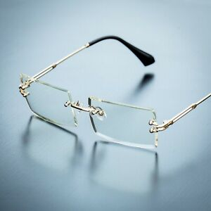 Men's Gold Sophisticated Clear Lens Square Rimless Rectangle Eye Glasses