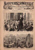 1871 Harpers Weekly November 4 - Chicago fire  scenes of destruction; KKK; Tweed
