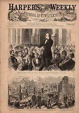 1871 Harpers Weekly November 4 - Chicago fire  scenes of destruction; KKK; Tweed