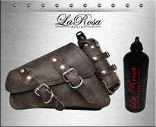 2004-2018 La Rosa Rustic Black Leather Harley Sportster Saddle Bag + Fuel Bottle