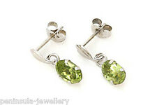 9ct White Gold Peridot Drop Earrings Made in UK Gift Boxed
