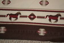 Woolrich Flannel King Flat Sheet Horse Aztec Southwest Design Cabin Cotton Brown