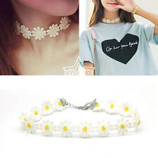 Daisy Flower Lace Choker Statement Chain Vintage Collar Necklace Retro Jewelry