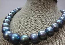"""Huge 18""""12-16mm south sea genuine black blue gray nuclear pearl necklace"""