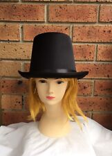 1 BLACK SATIN TOP HAT COSTUME MAGICIAN WEDDINGS ADULT DANCE MAD HATTER PARTY