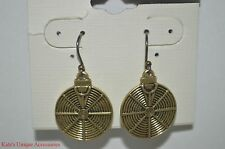 Lucky Brand Antique Gold-tone Round Drop Dangle Fashion Earrings NWT French Hook