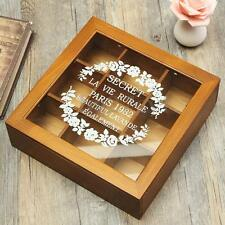 New Wooden Chic Spice Tea Box 9 Section Compartments Container Bag Chest Storage