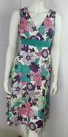 Rocha.John Rocha Floral Fully Lined V neck Fit &Flare Silk Blend Dress UK12