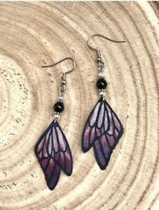 Pretty Purple Blue Fairy Wings Earrings Gothic Novelty Fantasy Magic Black Gift