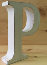 """Whitewashed Wood Letter  """"P"""" 5 inches Tall Free Standing 1 inch Thick"""
