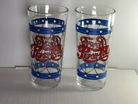 Vintage Pepsi Cola Stained Pint Glass Tiffany Style Blue Diamond Glass Lot of 2
