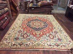 On Sale Genuine Hand Knotted Indo Oushak Heriz Geometric Area Rug Carpet 9x12,36