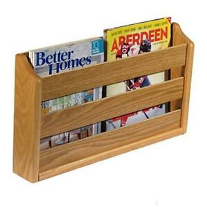 Doublewide Rack, Wall Mount or Tabletop Magazine Holder Light Oak Traditional